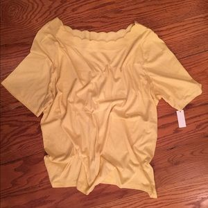 Talbots Scallop Neck Shirt, Yellow
